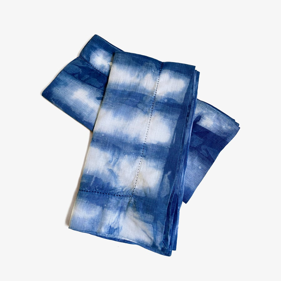 Image of Indigo Dyed Linen Napkins - Set of 2