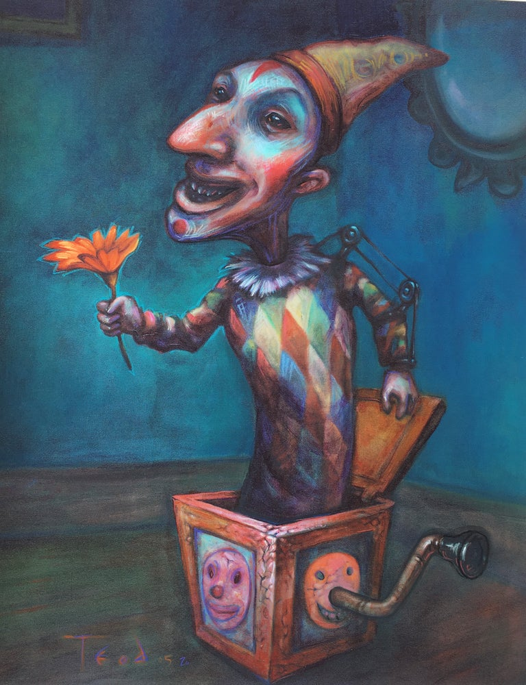 "Image of Teod ""Jack with Flower""  mixed media Embellishment on Giclée Artist Proof"
