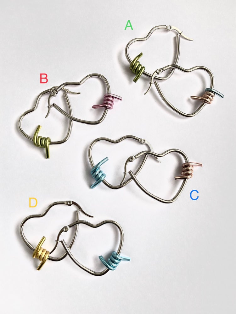 Image of MINI CANDY MIS-MATCH  BARBED WIRE HOOPS