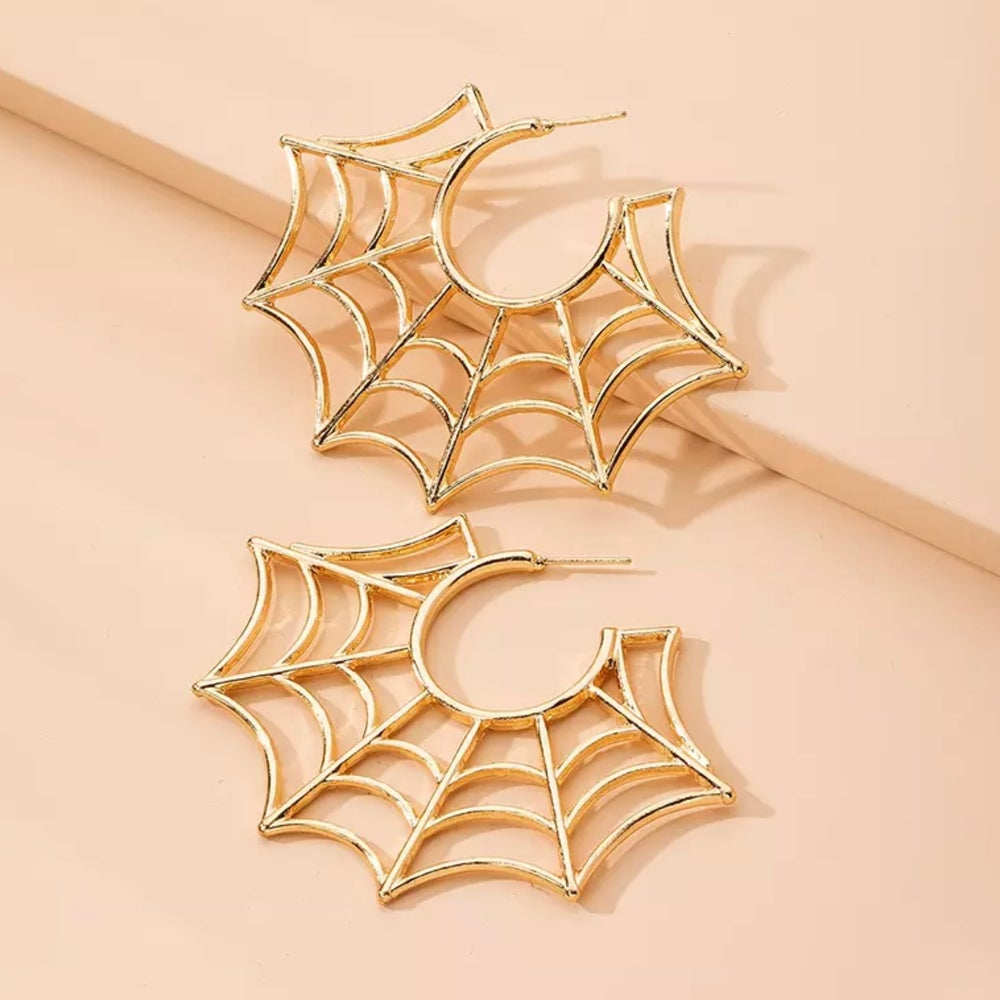 Image of SPIDER WEB STUD EARRINGS
