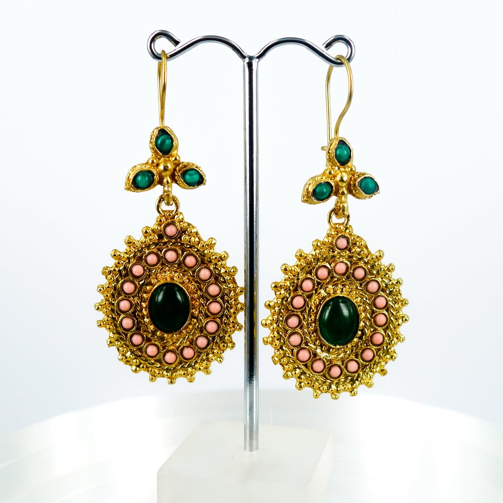 Image of Yellow gold plated and coloured stone Ottoman earrings. M3171