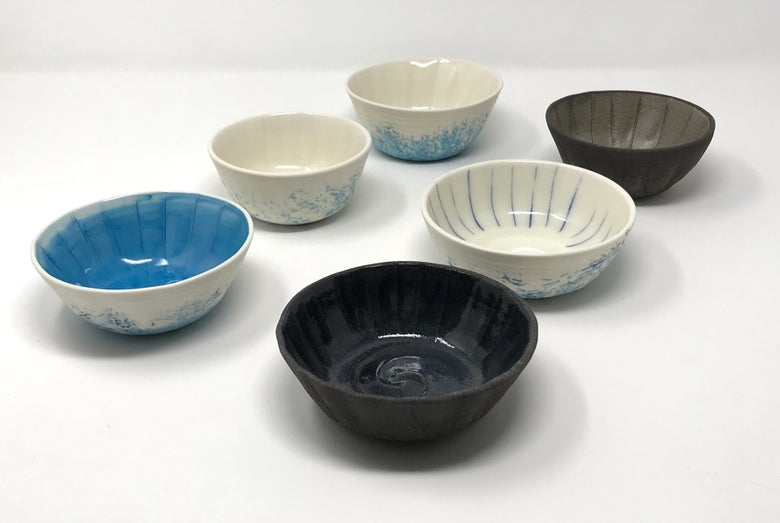 Image of Porcelain and Black Clay Small Shell Bowls