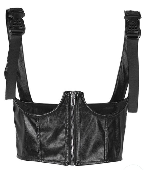 Image of Black Underboob Leather Corsets