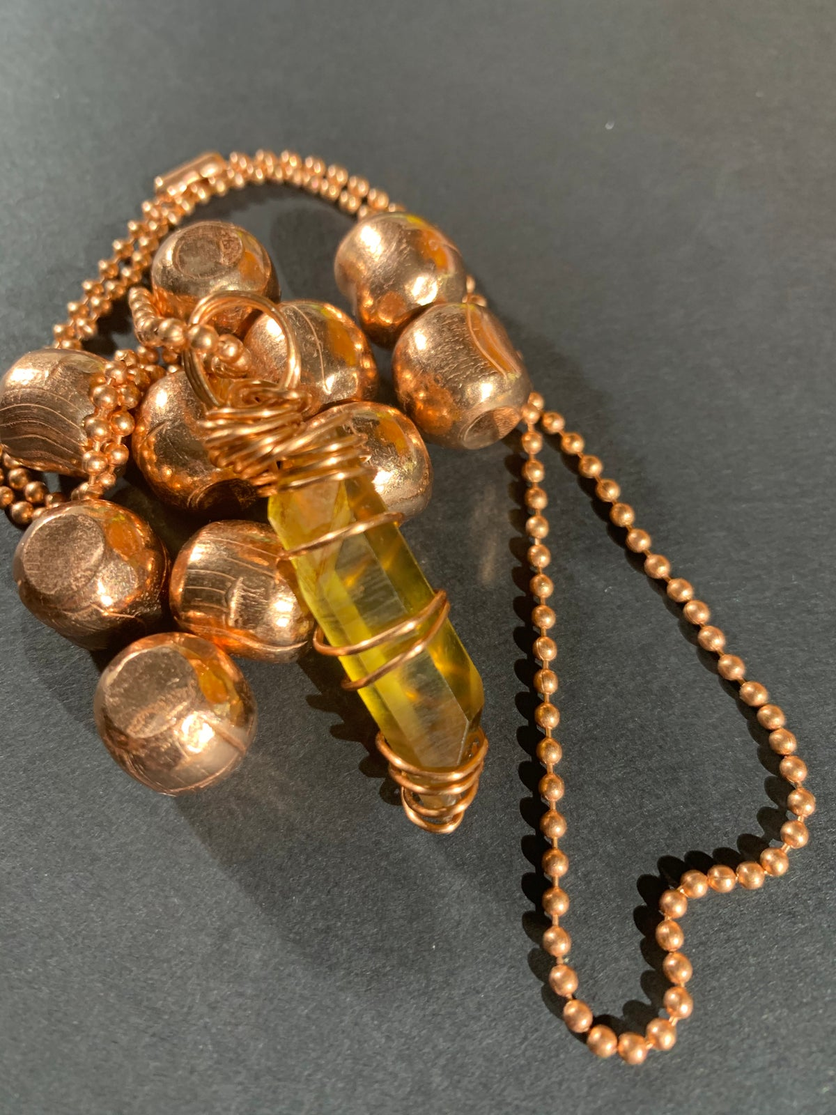 COPPER WRAPPED CITRINE NECKLACE -A