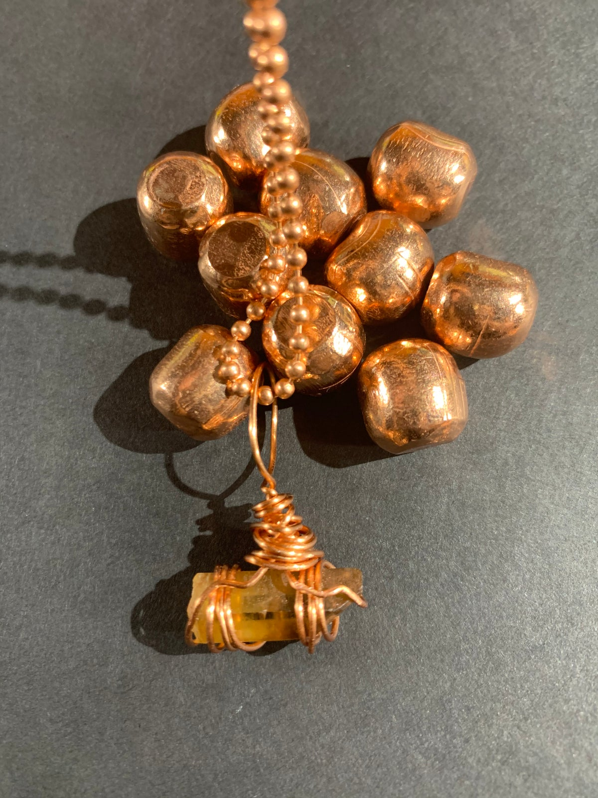 COPPER WRAPPED CITRINE NECKLACE-C