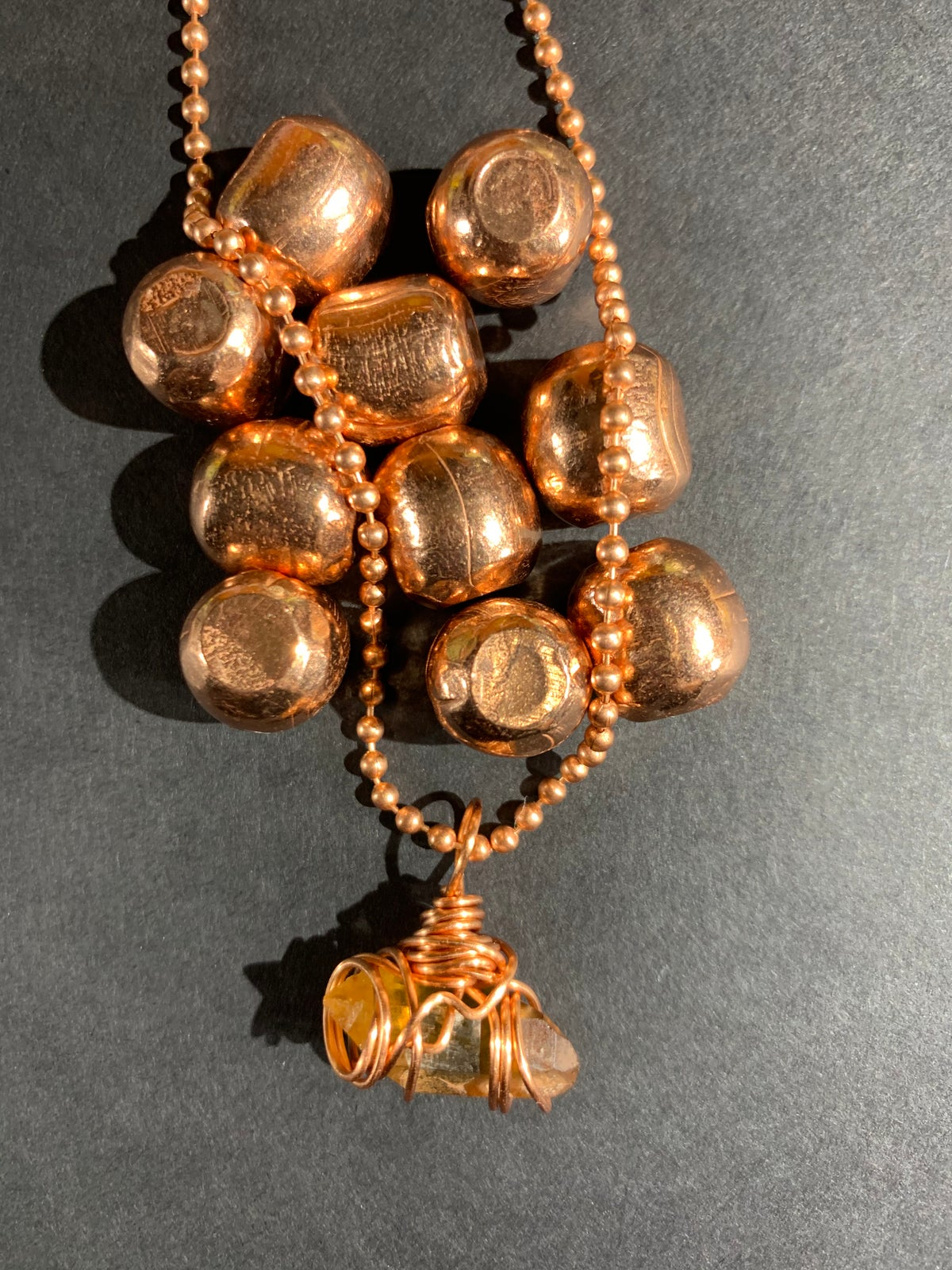 COPPER WRAPPED CITRINE NECKLACE- F