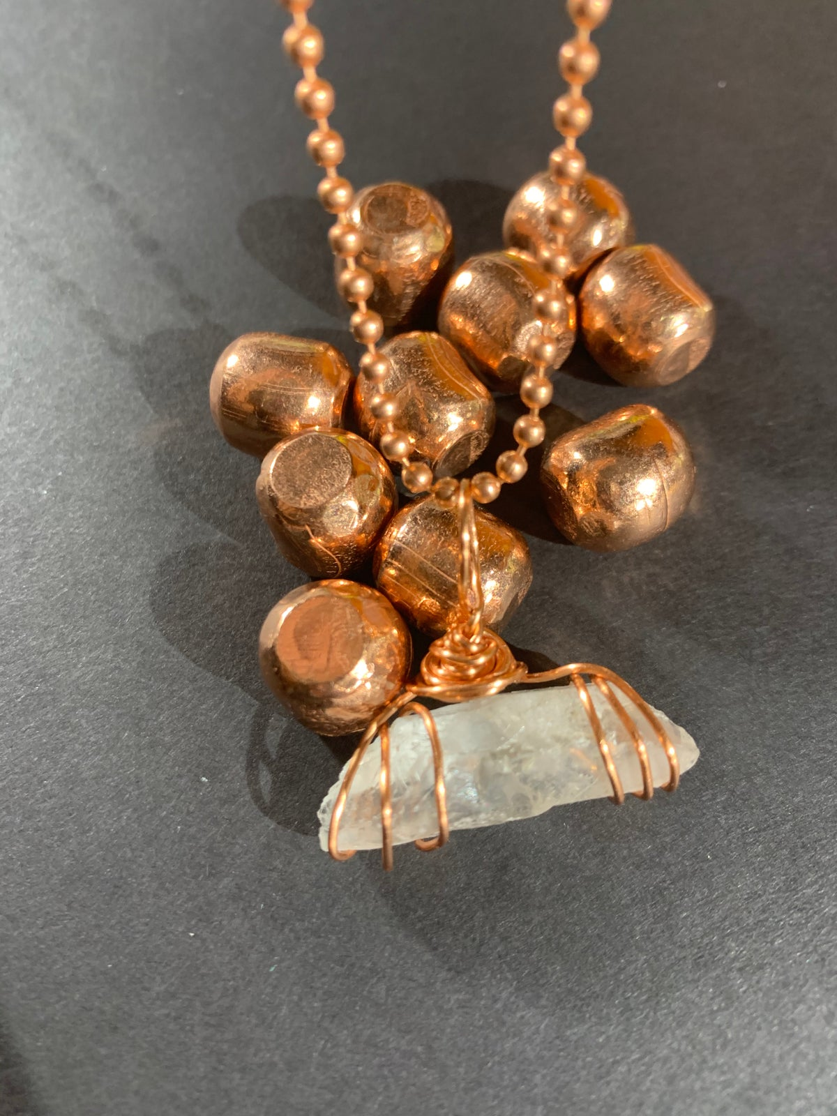 Copper Wrapped Clear Quartz Necklace - B