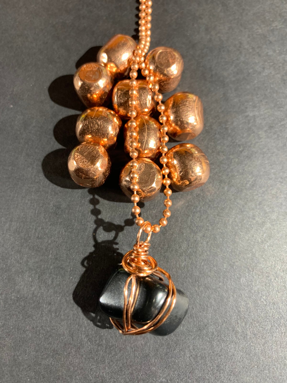 Copper Wrapped Shungite Necklace- B