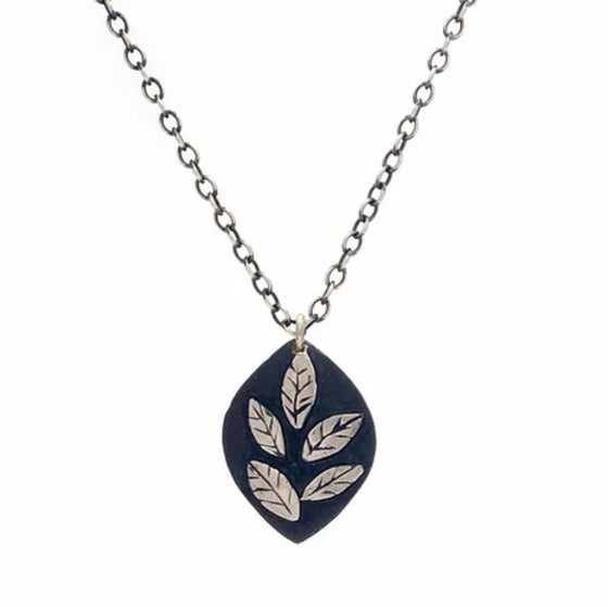 Image of Oxidized Sterling Small Leaf Necklace