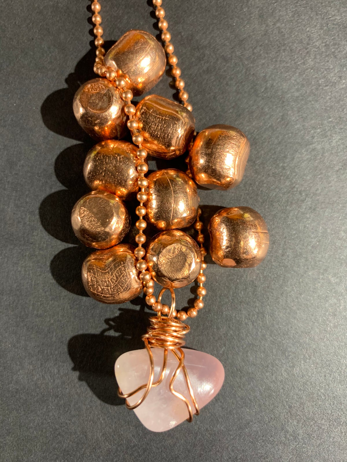 Copper Wrapped Rose Quartz Necklace- B