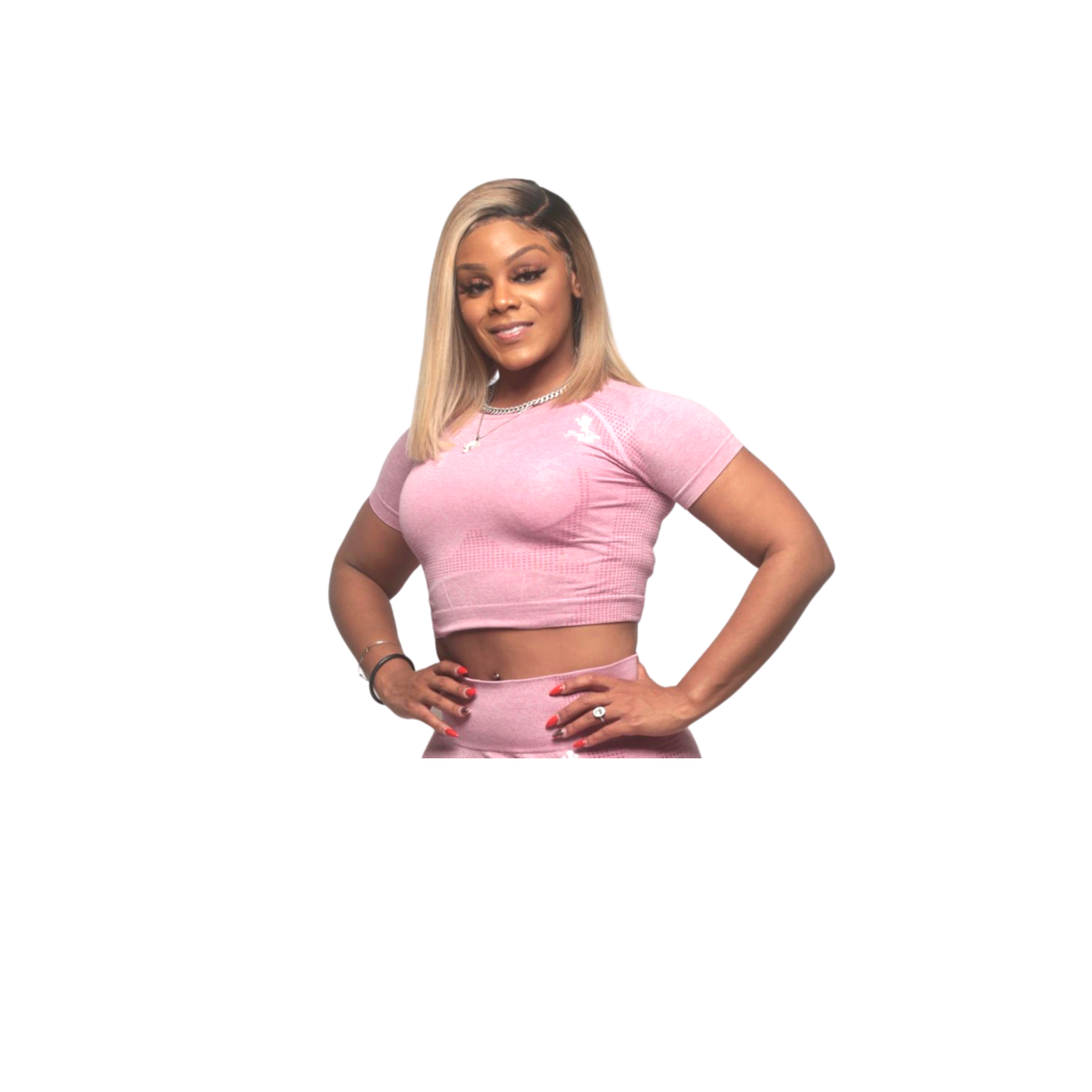 Image of Pink Cotton Candy - Seamless Short Sleeve Crop