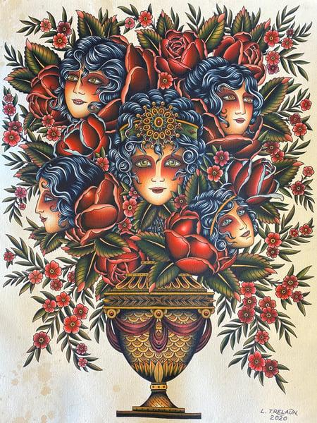 Image of Lady Head Vase print preorder