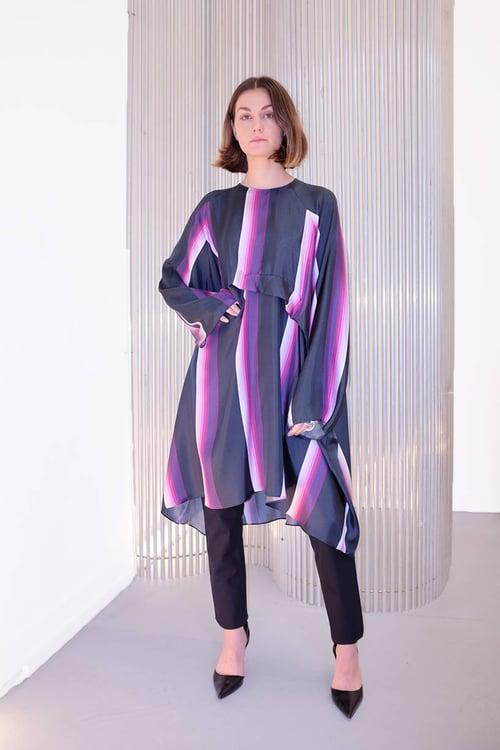 Image of Dress 1 - Silk twill - Purple stripe