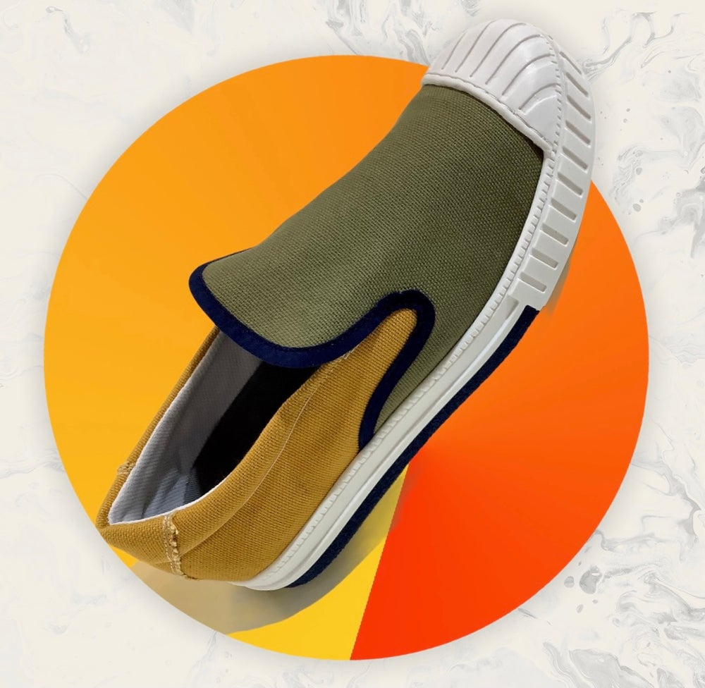 Image of Tortola X Quarter416 olive mustard slip on sneaker shoes made in Spain