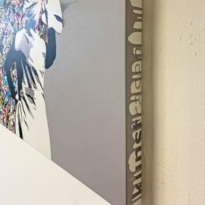 "Image of ""Drip Remover"" Original 1/1 (Dark Grey) on 70x70cm Deep Edge Canvas"