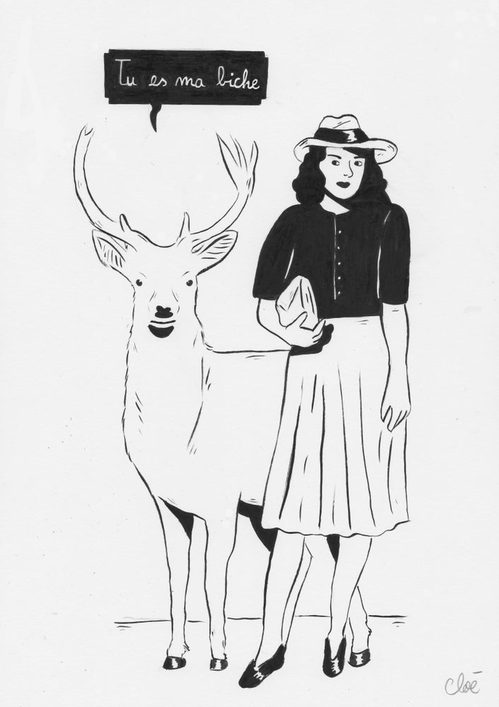 Image of Tu es ma biche, illustration originale.