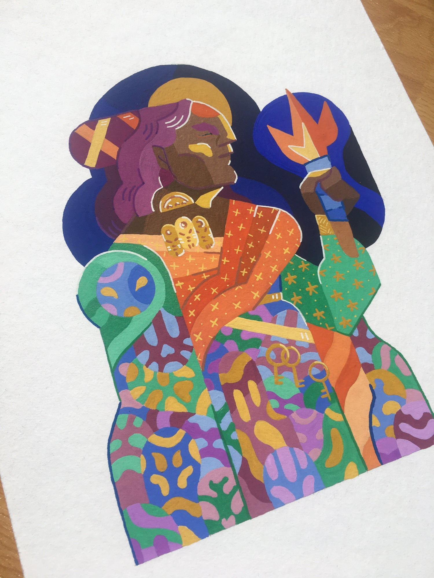 Image of Hekate's torch - original gouache