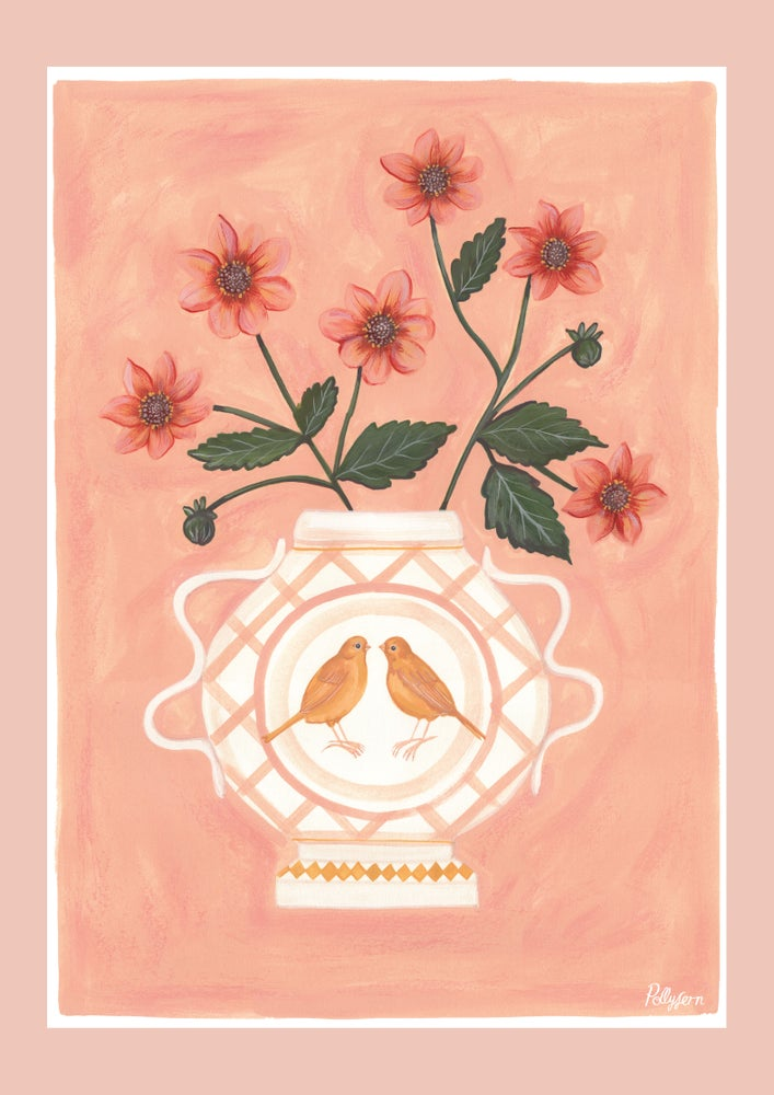 Image of A3 Canary & Dahlia Romantic Vase Print