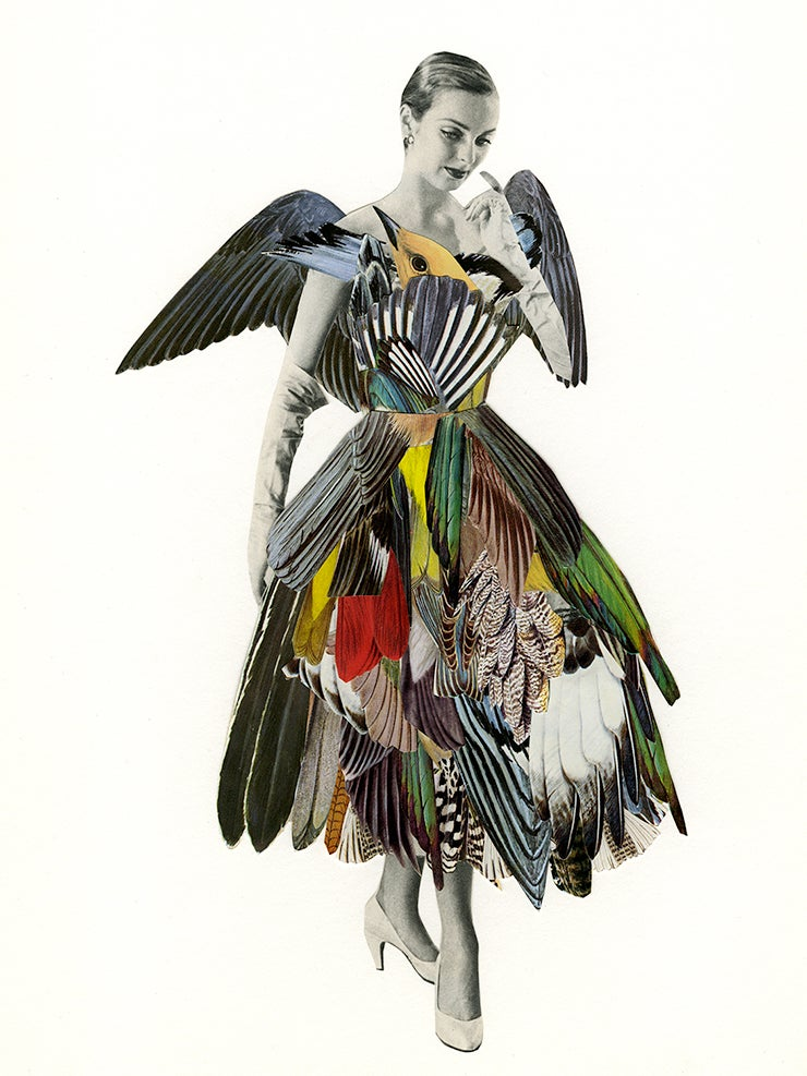 Image of She was given to little flights of fancy. Limited edition collage print.