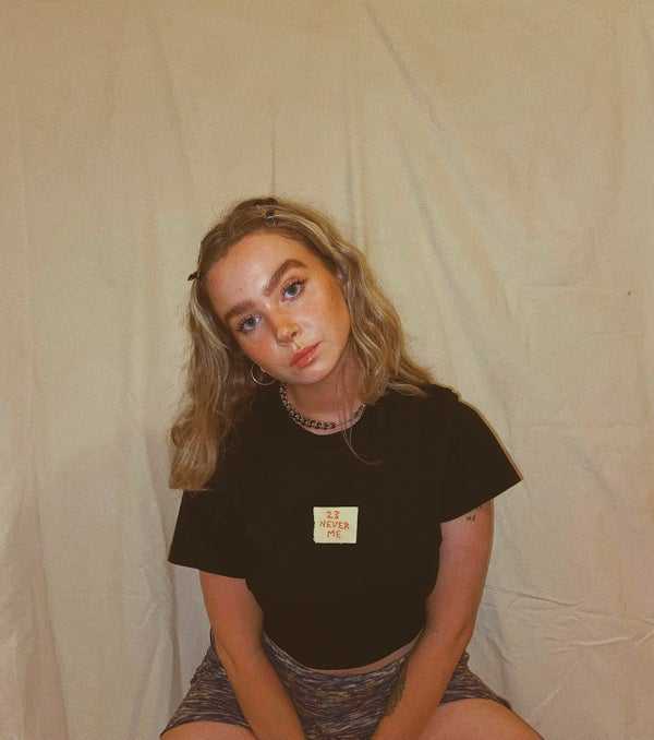 Image of 23, Never Me black tee / Hand embroidered by Anna