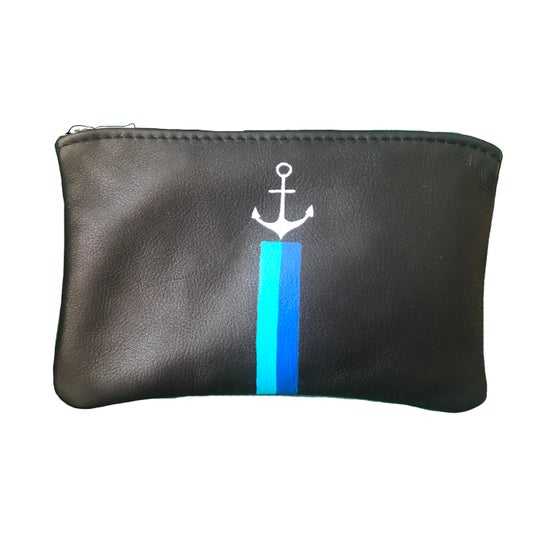 Image of Anchor Leather Coin Pouch - Blues Stripe