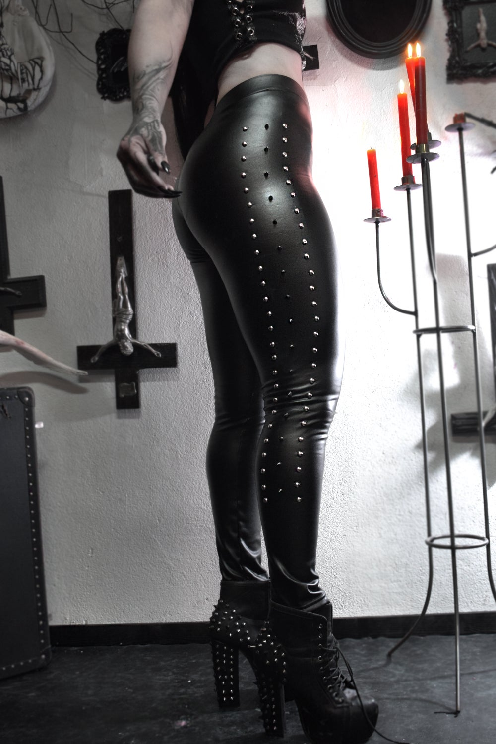 Image of Spikes Studded Vegan Faux Leather - FREE SHIPPING