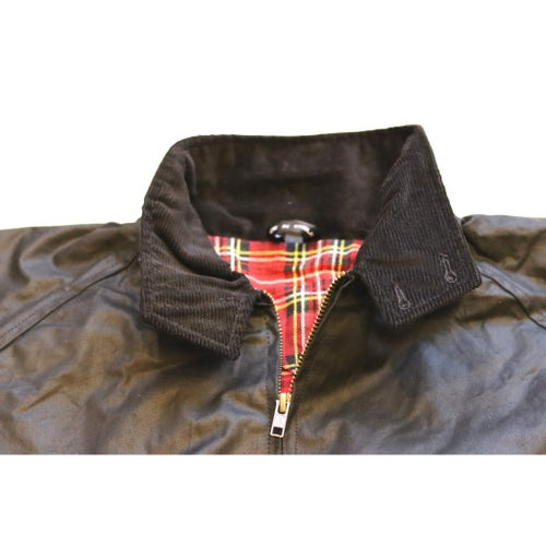 Image of Waxed Harrington - Black & Red Tartan