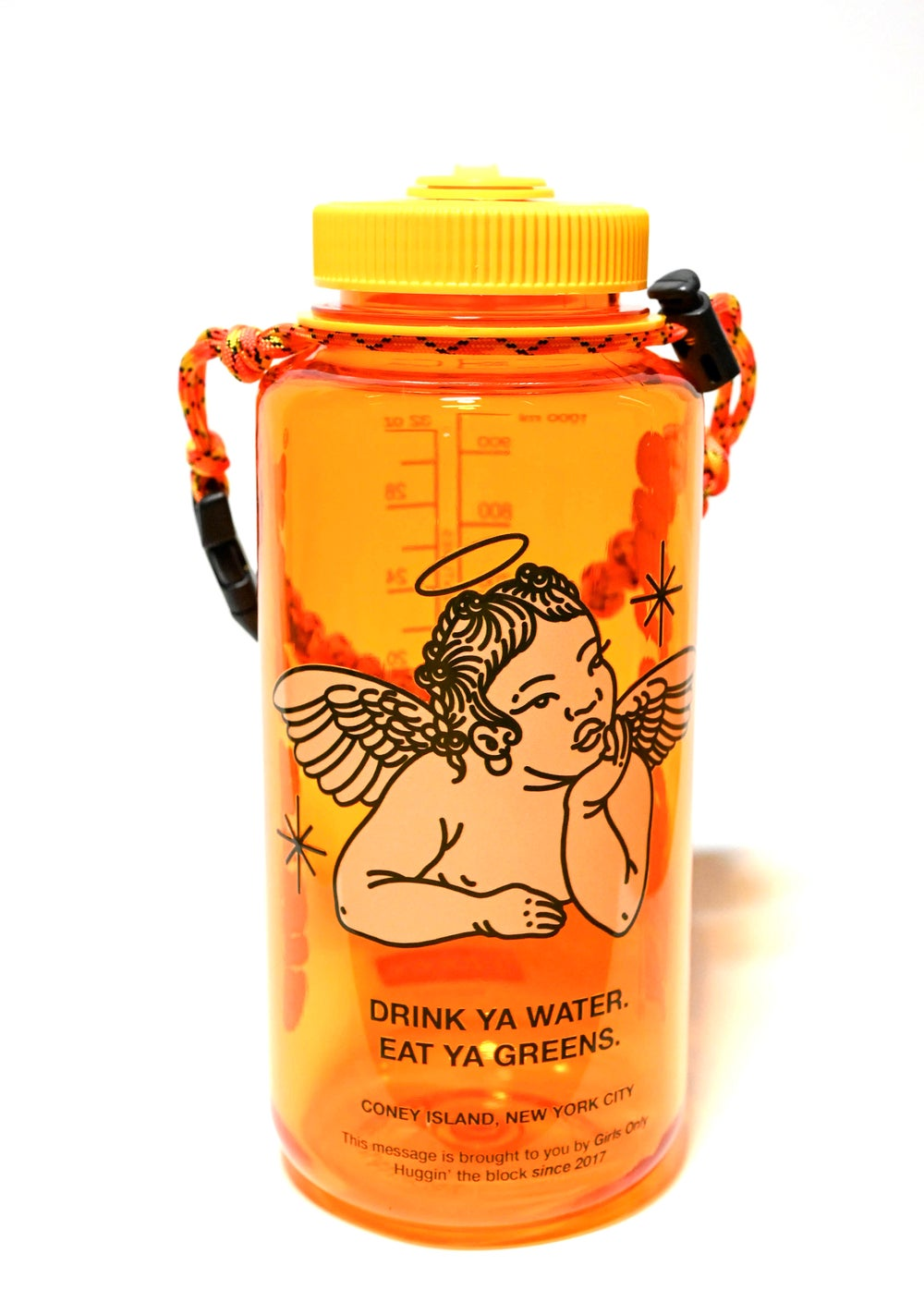 Image of Neon Orange Cherub Water Bottle w Lanyard