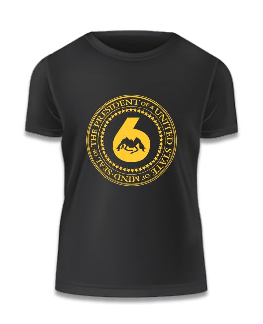 Image of Black Tee w Yellow 'J6 Presidential Seal' Logo