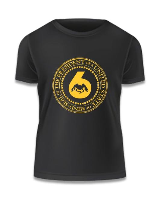 Image of Black Tee w Yellow 'J6 Presidential Seal' Logo