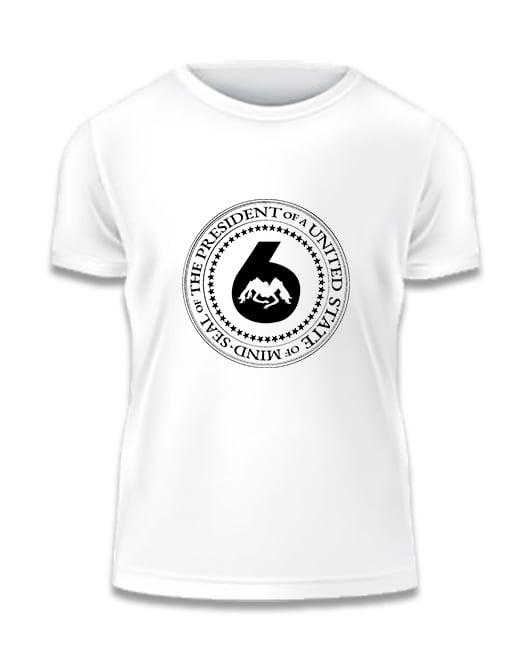 Image of White w Black 'J6 Presidential Seal' Logo