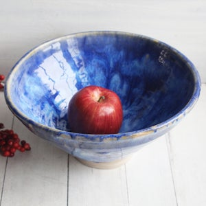 Image of Gorgeous  Serving Bowl in Swirling Blue Glazes, Handcrafted Pottery Centerpiece, Made in USA