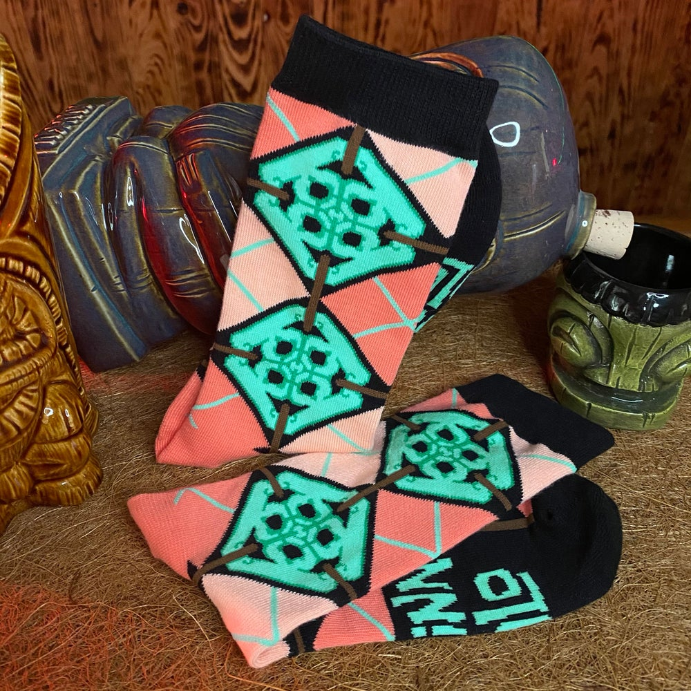 Image of Jade Tile Argyle Socks - Women size