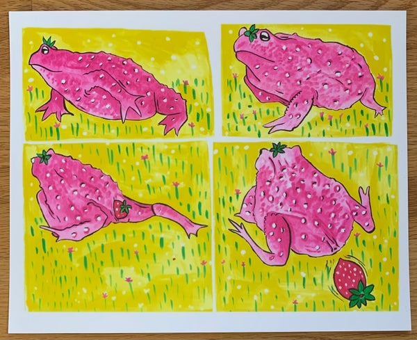 Image of Strawberry pooping toad