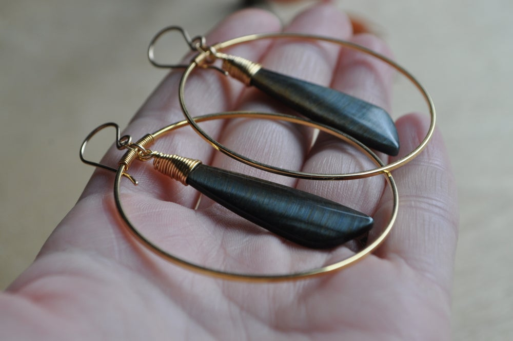 Image of One of a Kind Tiger Eye Hoop Dangles