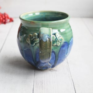 Image of Green and Blue Glazed Mug with Floral Design, Handmade Pottery Made in USA