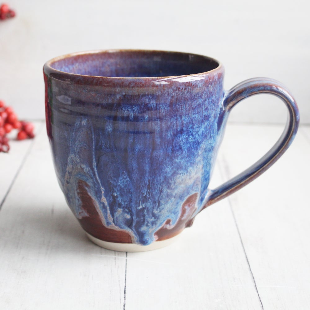 Image of Gorgeous Pottery Mug in Bright Purple, Blue and Mauve Glazes, 14 oz. Coffee Cup, Made in USA