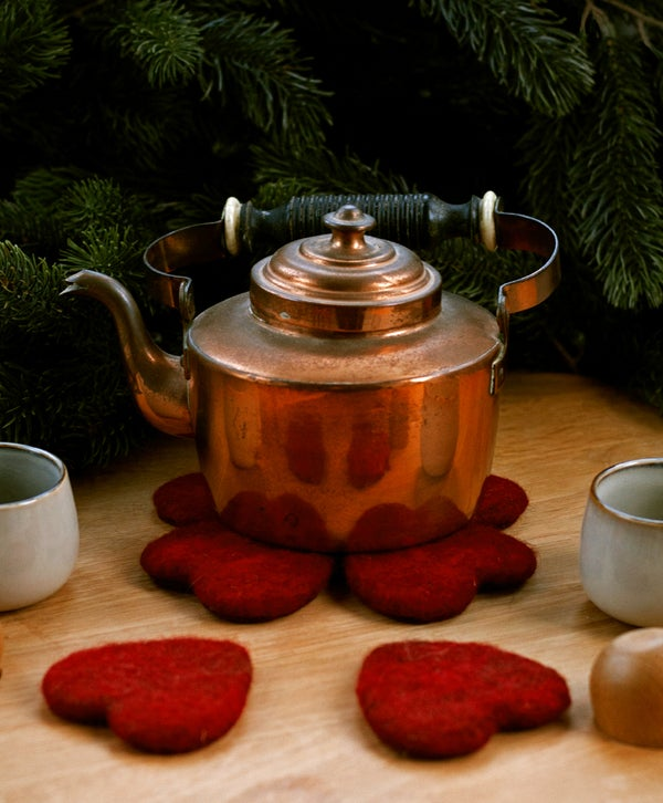 Image of Wool handcraft - Yule heart trivet