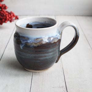 Image of Handmade Pottery Mug with Dripping Glazes, 14 oz. Coffee Cup Made in USA