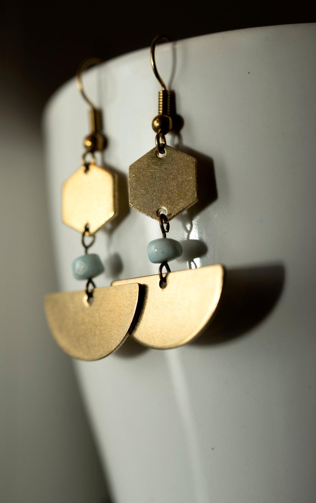 Image of Geo Larimar Earrings