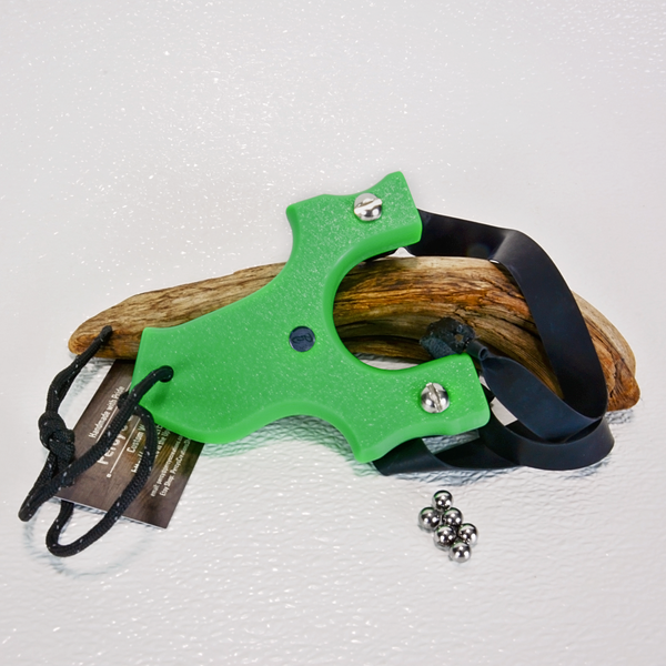 Image of Slingshots Catapults, Green Textured HDPE, The Little Heathen, Right Handed Shooter, Unique Gift