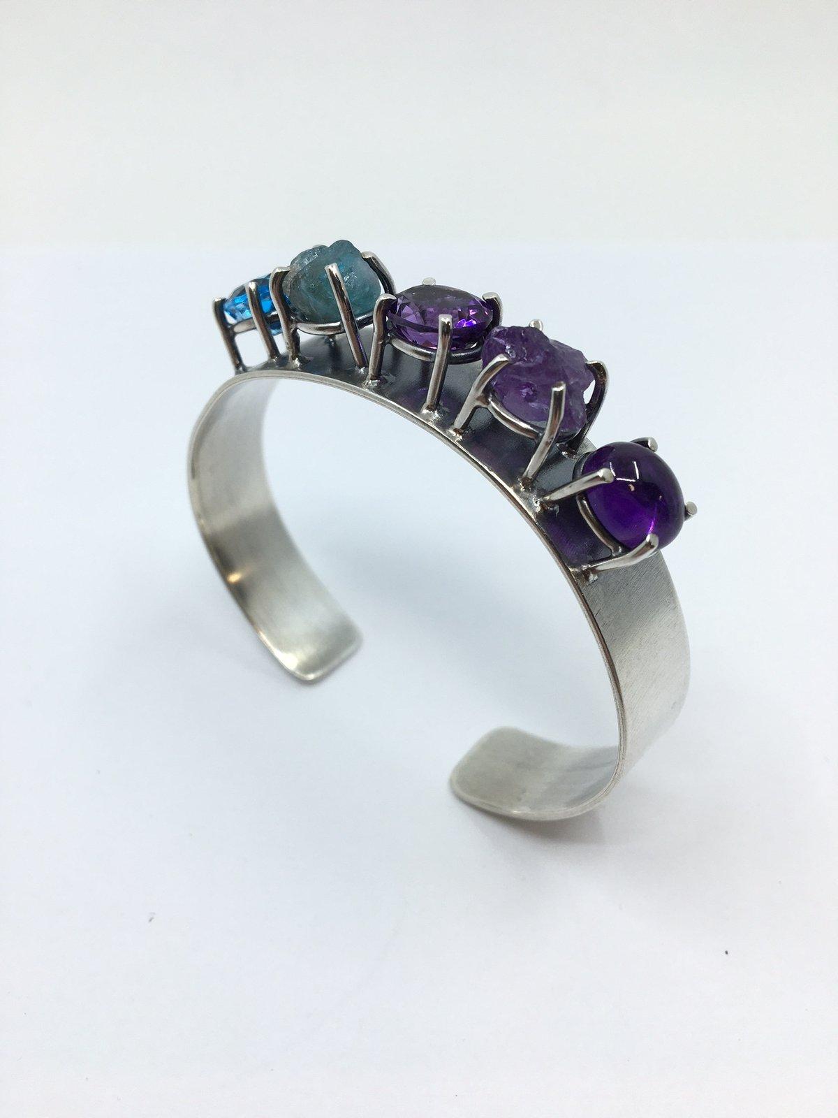5 Stone Silver Bracelet by Joanna Goldberg