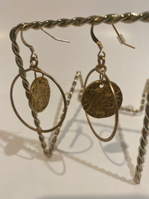 Image of Gold plated hoops with  boho center piece