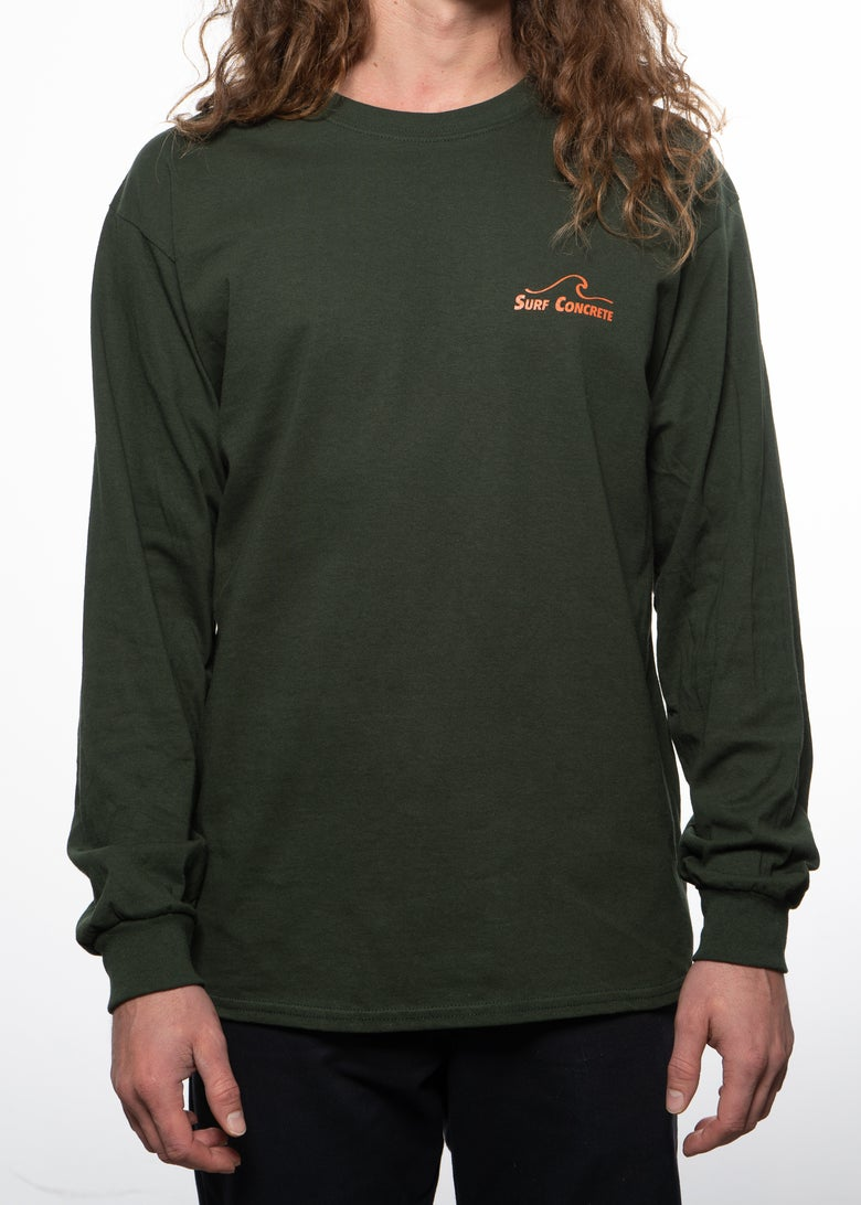 Image of Surf Concrete  Long Sleeve T-Shirt - Forest Green