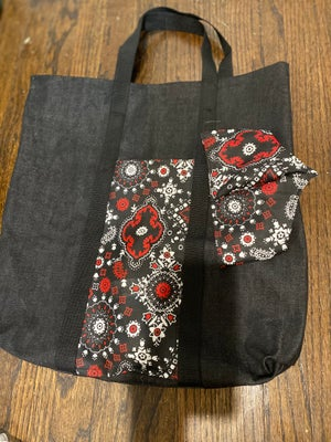 Image of Black demin Tote bag with matching mask