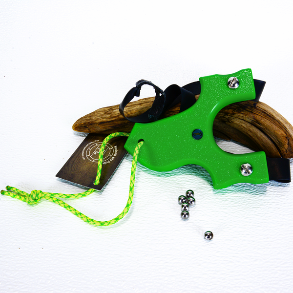 Image of Slingshots Catapults, Green Textured HDPE, The Little Heathen, Hunters Gift, Right handed shooter