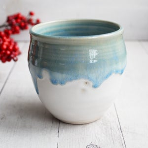 Image of Dripping Blue and White Glazed Mug, 18 oz. Handcrafted Stoneware Pottery Coffee Cup, Made in USA