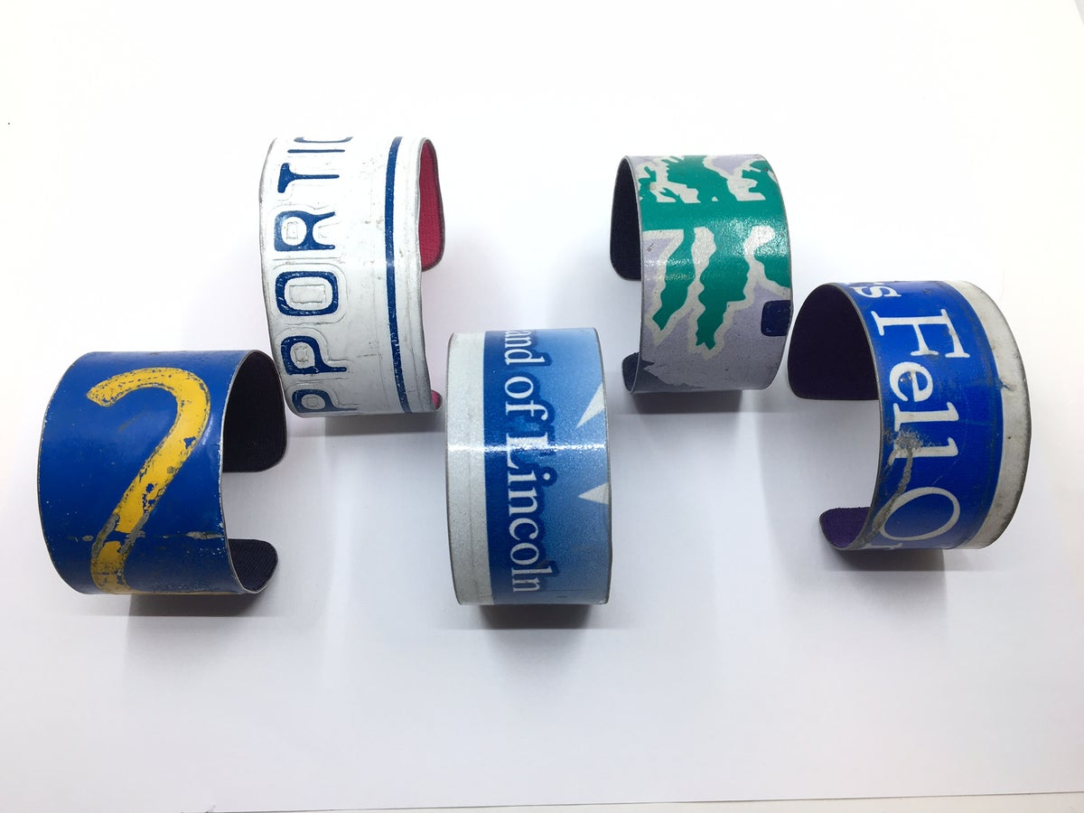 Reclaimed License Plate Cuff Bracelets by Three Sisters Design Co.