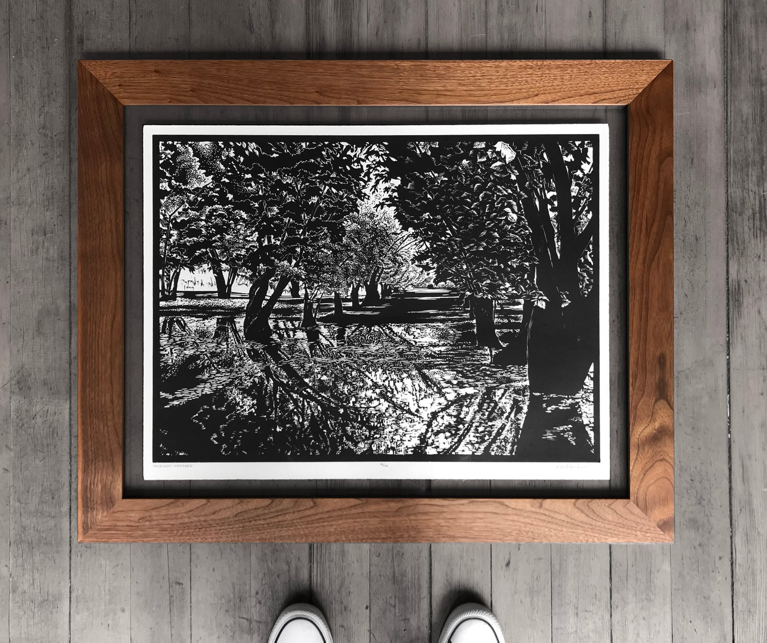 Hazelnut Orchard Framed in Salvaged Walnut