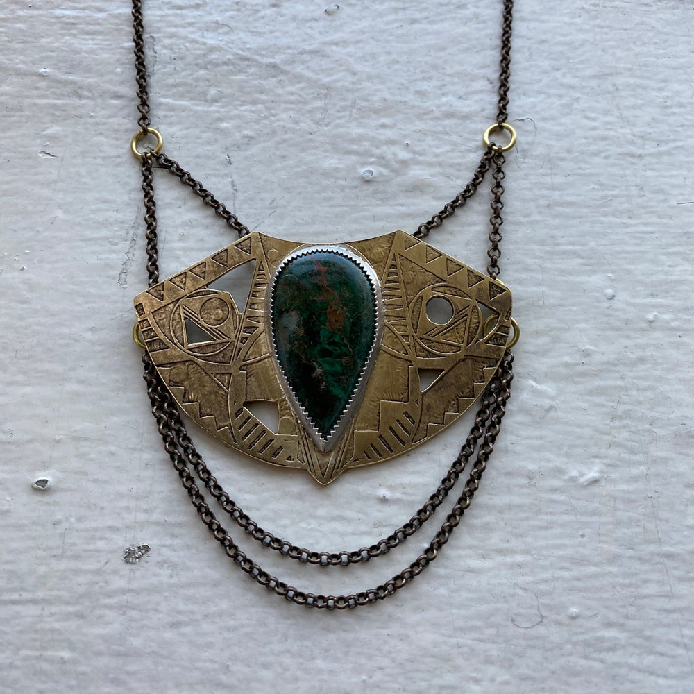 Image of statement pendant with chrysocolla
